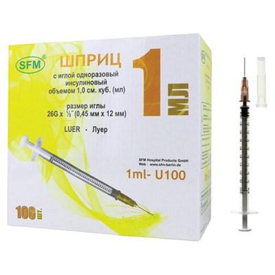 Шприц инсулиновый SFM, 1 мл, КОМПЛЕКТ 100 шт., в коробке, U-100 игла 0,45х12 мм - 26G, 534208 - фото 427556