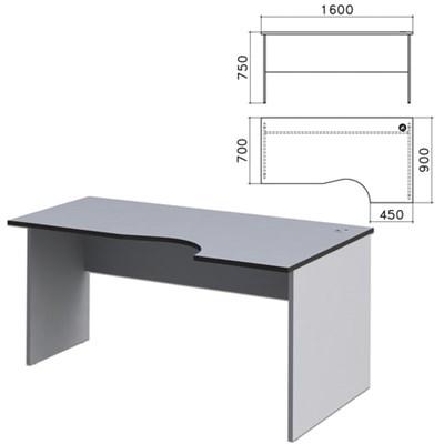 """Стол письменный эргономичный """"Монолит"""", 1600х900х750 мм, правый, цвет серый, СМ6.11 - фото 427813"""