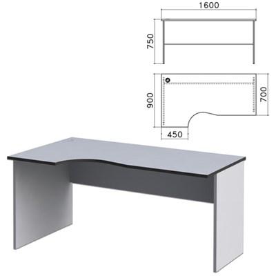 "Стол письменный эргономичный ""Монолит"", 1600х900х750 мм, левый, цвет серый, СМ7.11 - фото 427816"
