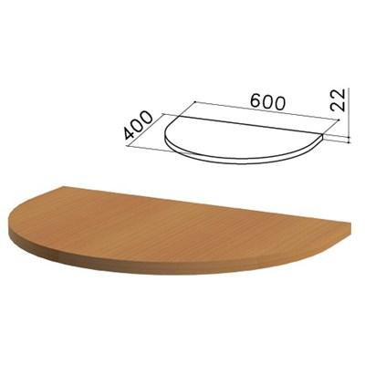 """Стол приставной полукруг """"Монолит"""", 600х400х750 мм, БЕЗ ОПОРЫ (640137), цвет орех гварнери, ПМ37.3 - фото 427836"""