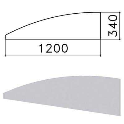 """Экран-перегородка """"Монолит"""", 1200х16х340 мм, БЕЗ ФУРНИТУРЫ (код 640237), серый, ЭМ20.11 - фото 427871"""