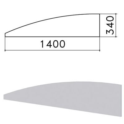 """Экран-перегородка """"Монолит"""", 1400х16х340 мм, БЕЗ ФУРНИТУРЫ (код 640237), серый, ЭМ21.11 - фото 427874"""