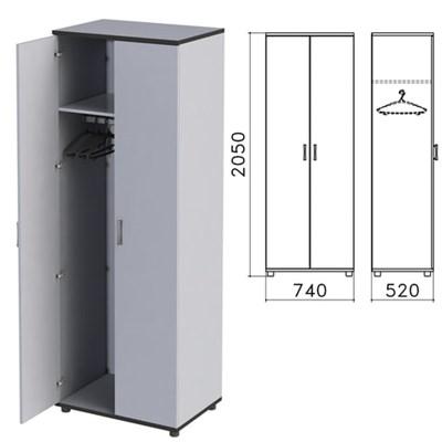 "Шкаф для одежды ""Монолит"", 740х520х2050 мм, цвет серый, ШМ50.11 - фото 427889"