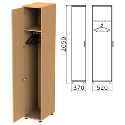 "Шкаф для одежды ""Монолит"", 370х520х2050 мм, цвет бук бавария, ШМ52.1 - фото 427890"