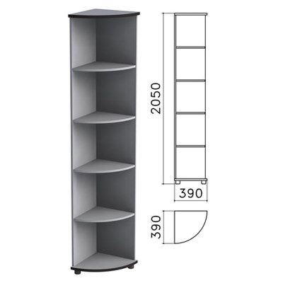 "Шкаф (стеллаж) угловой ""Монолит"", 390х390х2050 мм, 4 полки, цвет серый, УМ46.11 - фото 427895"
