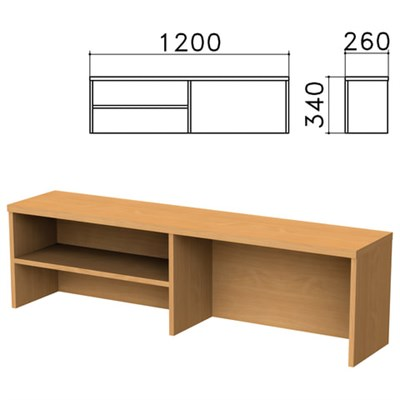 """Надстройка для стола письменного """"Монолит"""", 1200х260х340 мм, 1 полка, цвет бук бавария, НМ37.1 - фото 427899"""