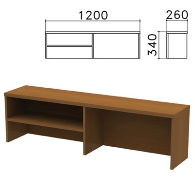 "Надстройка для стола письменного ""Монолит"", 1200х260х340 мм, 1 полка, цвет орех гварнери, НМ37.3 - фото 427900"