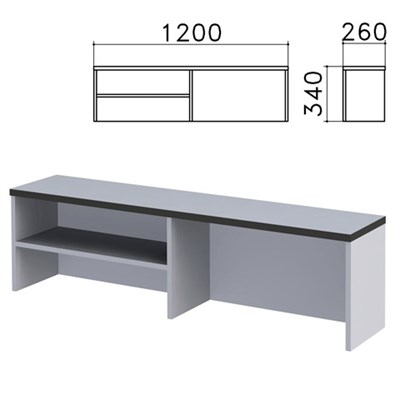 "Надстройка для стола письменного ""Монолит"", 1200х260х340 мм, 1 полка, цвет серый, НМ37.11 - фото 427901"