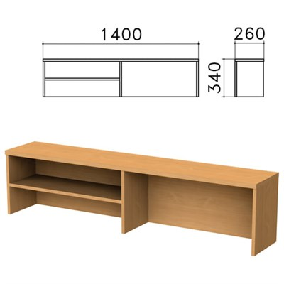 """Надстройка для стола письменного """"Монолит"""", 1400х260х340 мм, 1 полка, цвет бук бавария, НМ38.1 - фото 427902"""