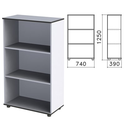 "Шкаф (стеллаж) ""Монолит"", 740х390х1250 мм, 2 полки, цвет серый, ШМ51.11 - фото 427911"