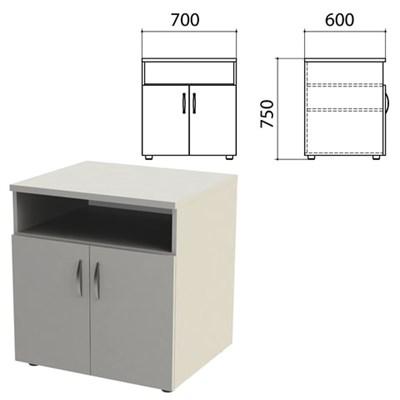 """Тумба для оргтехники """"Этюд"""", 700х600х750 мм, 2 двери, полка, серый, 400020-03 - фото 428011"""