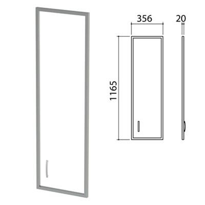 """Дверь СТЕКЛО в алюминиевой рамке """"Приоритет"""", правая, 356х20х1165 мм, БЕЗ ФУРНИТУРЫ (код 640429), К-940 - фото 428054"""
