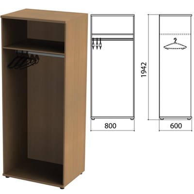 "Шкаф (каркас) для одежды ""Этюд"", 800х600х1942 мм, онтарио 160, 400002-160 - фото 428071"