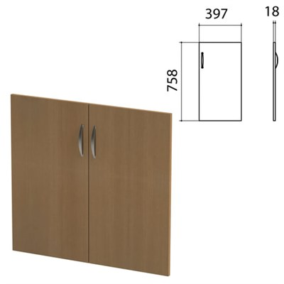 "Дверь ЛДСП низкая ""Этюд"", комплект 2 шт., 397х18х758 мм, орех онтарио, 400006-160 - фото 428074"