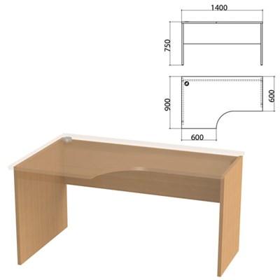 """Каркас стола эргономичного """"Этюд"""",1400х900х750 мм, левый, бук бавария, 401671-55 - фото 428081"""