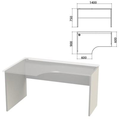 """Каркас стола эргономичного """"Этюд"""",1400х900х750 мм, левый, серый, 401671-03 - фото 428083"""