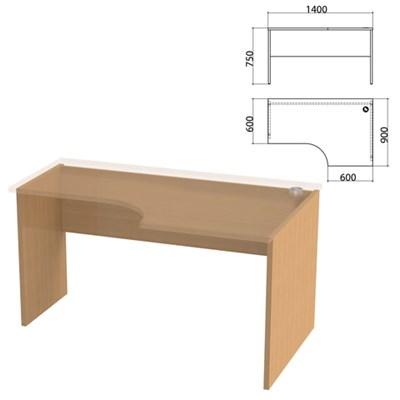 """Каркас стола эргономичного """"Этюд"""", 1400х900х750 мм, правый, бук бавария, 401669-55 - фото 428086"""