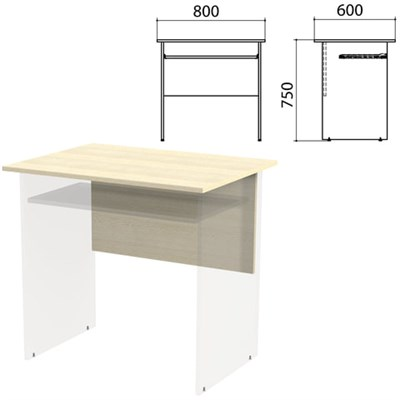 "Столешница, царга стола компьютерного ""Канц"" 800х600х750 мм, цвет дуб молочный, СК25.15.1 - фото 428111"