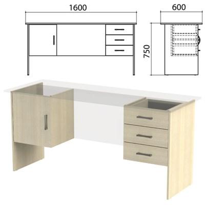"""Каркас к столам письменным с 2 тумбами """"Канц"""" (ш1600*г600*в750 мм), дуб молочный, СК29.15.2 - фото 428121"""