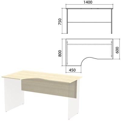 """Столешница, царга стола эргономичного """"Канц"""" 1400х800х750 мм, левый, цвет дуб молочный, СК36.15.1 - фото 428125"""