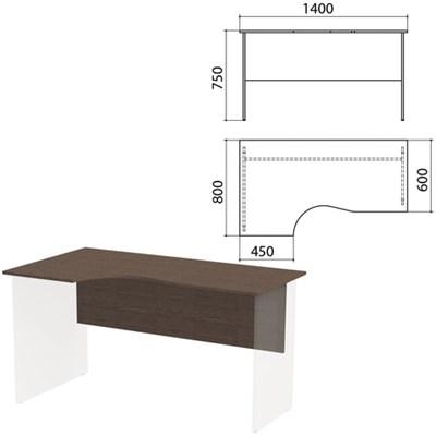 "Столешница, царга стола эргономичного ""Канц"" 1400х800х750 мм, левый, цвет венге, СК36.16.1 - фото 428126"