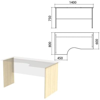 "Опоры к столам эргономичным ""Канц"" 1400х800х750 мм, левый/правый, цвет дуб молочный, СК30.15.2 - фото 428127"