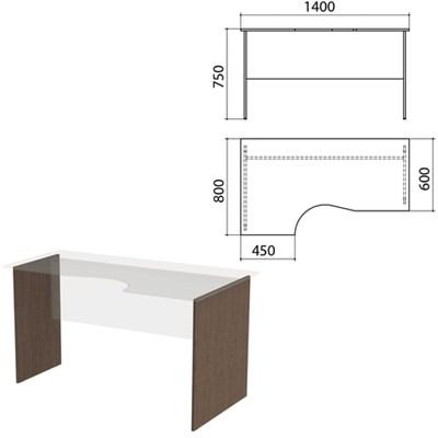 """Опоры к столам эргономичным """"Канц"""" 1400х800х750 мм, левый/правый, цвет венге, СК30.16.2 - фото 428128"""