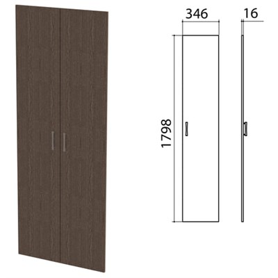 """Дверь ЛДСП высокая """"Канц"""", КОМПЛЕКТ 2 шт, 346х16х1798 мм, цвет венге, ШК40.16.1 - фото 428138"""