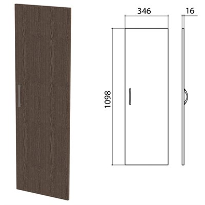 "Дверь ЛДСП средняя ""Канц"" 346х16х1098 мм, цвет венге, ДК36.16 - фото 428140"