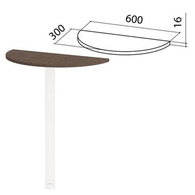 """Стол приставной полукруг """"Канц"""", 600х300х750 мм, БЕЗ ОПОРЫ, цвет венге, ПК35.16 - фото 428162"""
