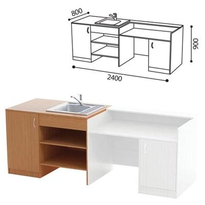 Стол ( ПАКЕТ 1) для кабинета химии, 2400х800х900 мм, ЛДСП бук/пластик - фото 428266