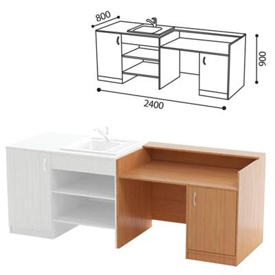 Стол (ПАКЕТ 2) для кабинета химии, 2400х800х900 мм, ЛДСП бук/пластик - фото 428267
