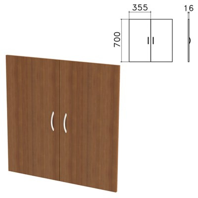 "Дверь ЛДСП низкая ""Бюджет"", КОМПЛЕКТ 2 шт., 355х16х700 мм, орех французский, 402879-190 - фото 428296"