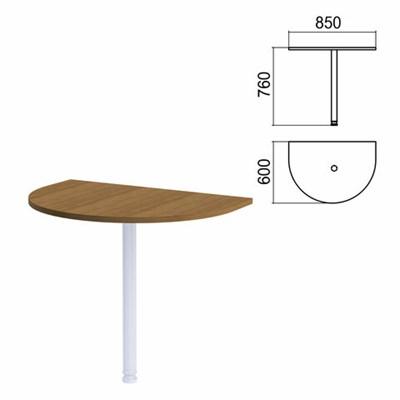 """Стол приставной полукруг """"Арго"""", 850х600 мм, БЕЗ ОПОРЫ, орех - фото 462114"""